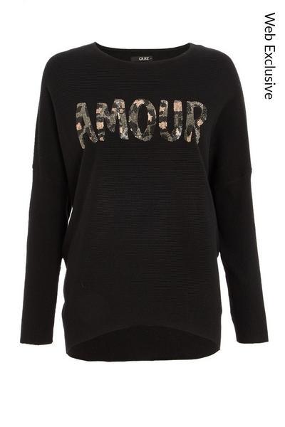 Black Sequin Slogan Knitted Jumper